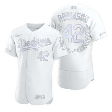 Men's Los Angeles Dodgers #42 Jackie Robinson Platinum Baseball MVP Limited Player Edition Jersey