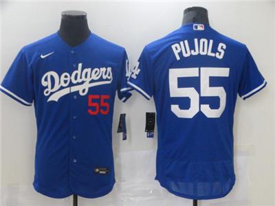 Men's Los Angeles Dodgers #55 Albert Pujols Royal Blue Flex Base Sttiched Baseball Jersey