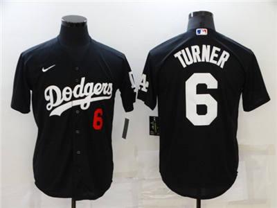 Men's Los Angeles Dodgers #6 Trea Turner Black Cool Base Stitched Baseball Jersey