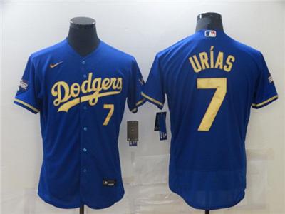 Men's Los Angeles Dodgers #7 Julio Urias Blue Gold 2020 World Series Flex Base Stitched Baseball Jersey