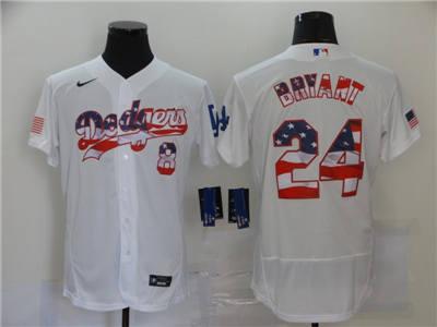 Men's Los Angeles Dodgers #8-24 Kobe Bryant White USA Flag Fashion Stitched Baseball Jersey