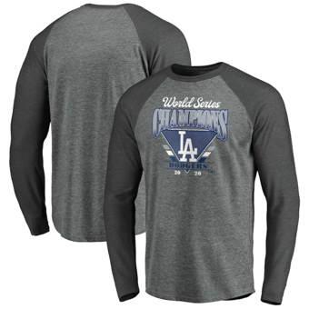 Men's Los Angeles Dodgers 2020 World Series Champions Complete Game Tri-Blend Raglan Long Sleeve T-Shirt Heather Gray