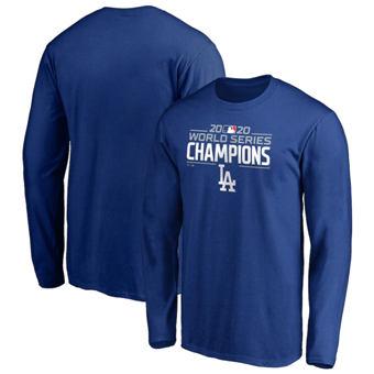 Men's Los Angeles Dodgers 2020 World Series Champions Logo Long Sleeve T-Shirt Royal