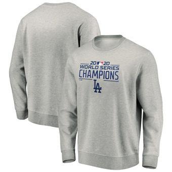 Men's Los Angeles Dodgers 2020 World Series Champions Logo Pullover Sweatshirt Heather Gray