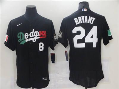 Men's Los Angeles Dodgers Front #8 Back #24 Kobe Bryant Black World Series Stitched Baseball Jersey