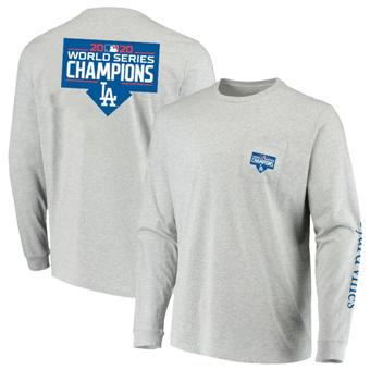 Men's Los Angeles Dodgers Vineyard Vines 2020 World Series Champions Long Sleeve T-Shirt Gray