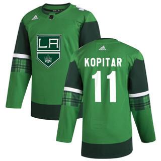 Men's Los Angeles Kings #11 Anze Kopitar 2020 St. Patrick's Day Stitched Hockey Jersey Green