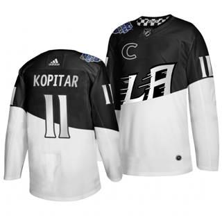 Men's Los Angeles Kings #11 Anze Kopitar 2020 Stadium Series White Black Stitched Hockey Jersey