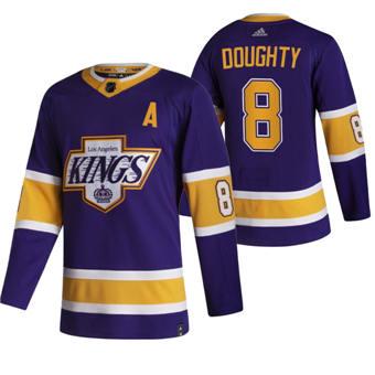 Men's Los Angeles Kings #8 Drew Doughty Black 2020-21 Reverse Retro Alternate Hockey Jersey