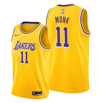 Men's Los Angeles Lakers #11 Malik Monk Yellow Stitched Basketball Jersey