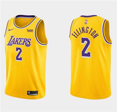 Men's Los Angeles Lakers #2 Wayne Ellington Yellow Stitched Basketball Jersey