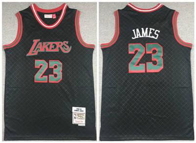 Men's Los Angeles Lakers #23 LeBron James 2018-19 Black Mitchell & Ness Hardwood Classics Stitched Basketball Jersey