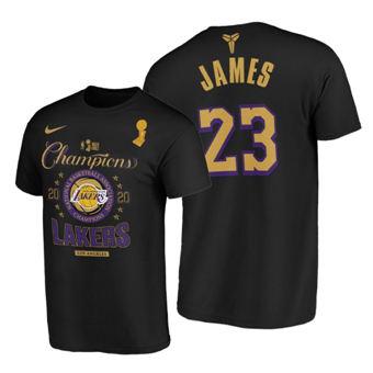 Men's Los Angeles Lakers #23 LeBron James 2020 Finals Champions Black Locker Room T-Shirt