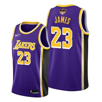 Men's Los Angeles Lakers #23 LeBron James Purple 2020 Finals Bound Stitched Jersey