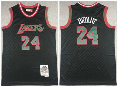 Men's Los Angeles Lakers #24 Kobe Bryant 2007-08 Black Mitchell & Ness Hardwood Classics Stitched Basketball Jersey