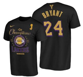 Men's Los Angeles Lakers #24 Kobe Bryant 2020 Finals Champions Black Locker Room T-Shirt