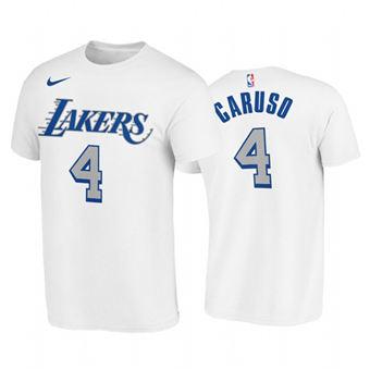 Men's Los Angeles Lakers #4 Alex Caruso White 2020-21 City Edition New Blue Silver T-Shirt