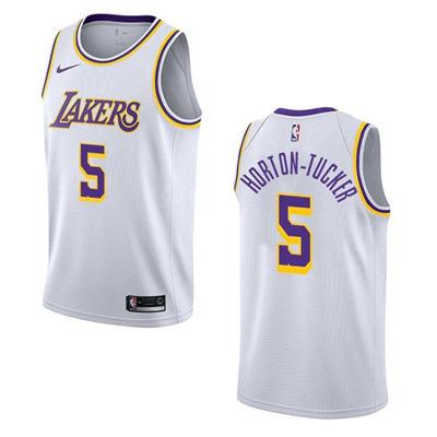Men's Los Angeles Lakers #5 Talen Horton-Tucker White Basketball Jersey