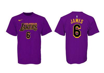 Men's Los Angeles Lakers #6 LeBron James Purple Black Basketball T-Shirt