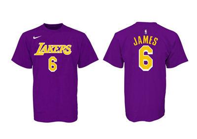 Men's Los Angeles Lakers #6 LeBron James Purple Yellow Basketball T-Shirt