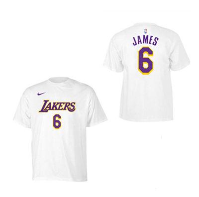 Men's Los Angeles Lakers #6 LeBron James White Basketball T-Shirt