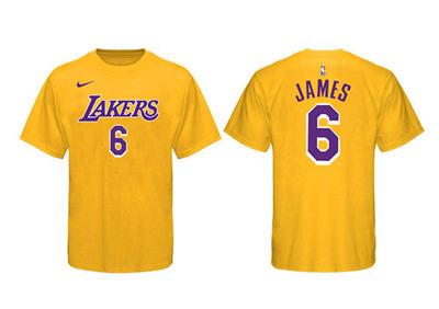 Men's Los Angeles Lakers #6 LeBron James Yellow Basketball T-Shirt