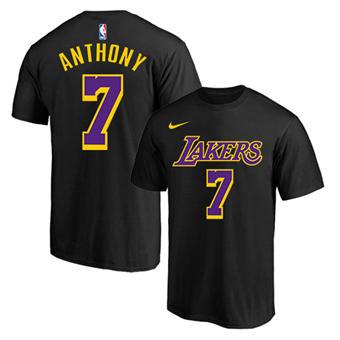 Men's Los Angeles Lakers #7 Carmelo Anthony Black Purple Basketball T-Shirt