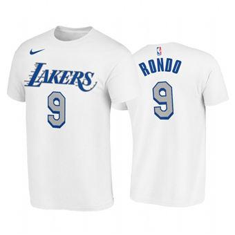 Men's Los Angeles Lakers #9 Rajon Rondo White 2020-21 City Edition New Blue Silver T-Shirt