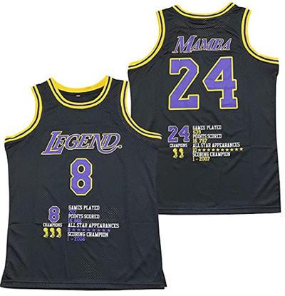 Men's Los Angeles Lakers Front #8 'Legend' Back #24 'Mamba' Kobe Bryant Black Stitched Basketball Jersey