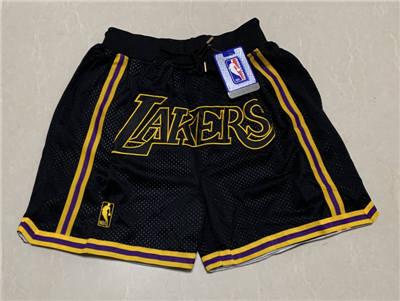 Men's Los Angeles Lakers Hardwood Classics Stitched Basketball Short - Black