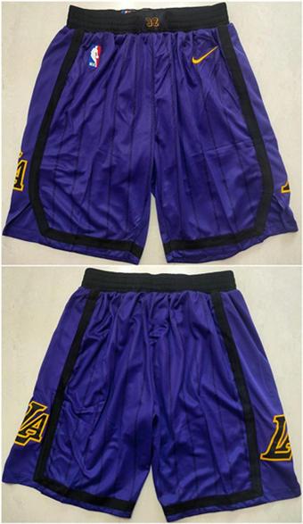 Men's Los Angeles Lakers Purple Basketball Shorts (Run Small)