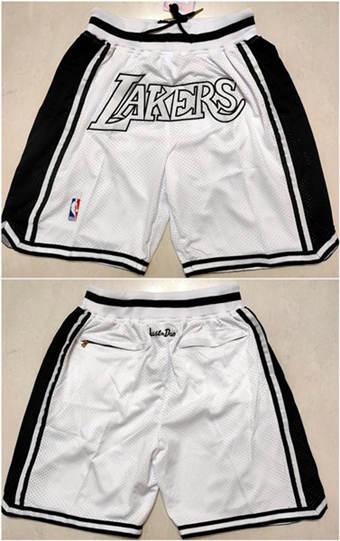 Men's Los Angeles Lakers White Basketball Shorts (Run Small)