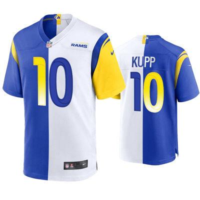 Men's Los Angeles Rams #10 Cooper Kupp 2021 Split Royal White Game Jersey