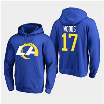 Men's Los Angeles Rams #17 Robert Woods 2020 New Logo Royal Pullover Hoodie
