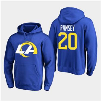 Men's Los Angeles Rams #20 Jalen Ramsey 2020 New Logo Royal Pullover Hoodie