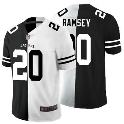 Men's Los Angeles Rams #20 Jalen Ramsey Black White Split 2020 Stitched Football Limited Jersey