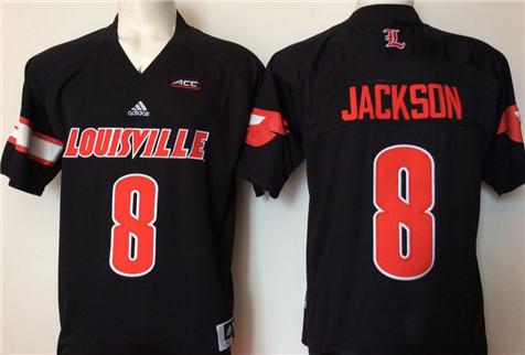 Men's Louisville Cardinals Black #8 JACKSON Stitched College Football Jersey
