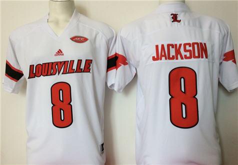 Men's Louisville Cardinals White #8 JACKSON Stitched College Football Jersey