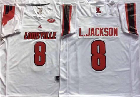 Men's Louisville Cardinals White #8 L.JACKSON Stitched College Football Jersey