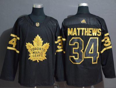 Men's Maple Leafs #34 Auston Matthews Black Gold Authentic Stitched Hockey Jersey