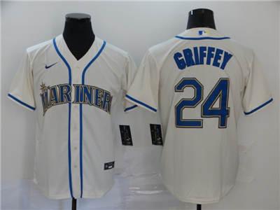 Men's Mariners #24 Ken Griffey Jr. Cream 2020 Baseball Cool Base Jersey