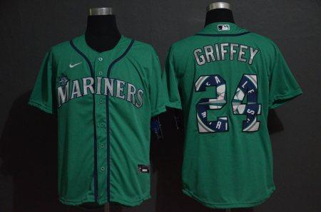 Men's Mariners #24 Ken Griffey Jr. Green 2020 Baseball Color Printing Cool Base Jersey