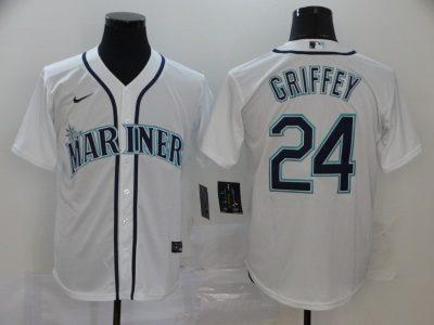 Men's Mariners #24 Ken Griffey Jr. White 2020 Baseball Cool Base Jersey