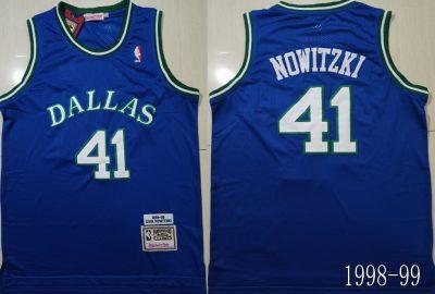 Men's Mavericks #41 Dirk Nowitzki Blue 1998-99 Hardwood Classics Jersey