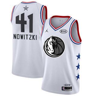 Men's Mavericks #41 Dirk Nowitzki White Basketball Jordan Swingman 2019 All-Star Game Jersey