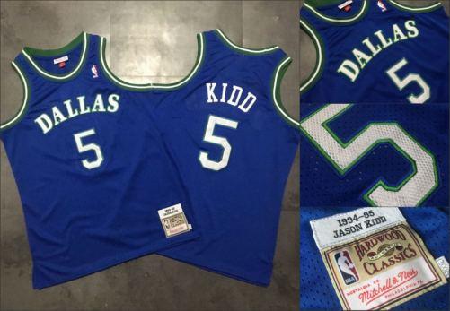 Men's Mavericks #5 Jason Kidd Blue Stitched 1994-95 Hardwood Classics Basketball Jersey