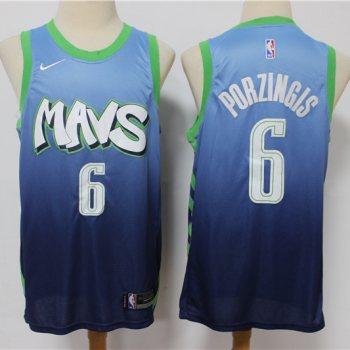 Men's Mavericks #6 Kristaps Porzingis Blue New 2019-2020 City Edition Swingman Basketball Jersey