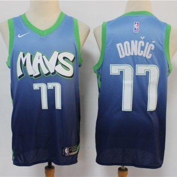Men's Mavericks #77 Luka Doncic Blue New 2019-2020 City Edition Swingman Basketball Jersey