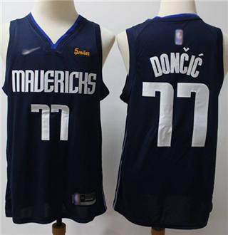 Men's Mavericks #77 Luka Doncic Navy Basketball Swingman Statement Edition 2019-2020 Jersey