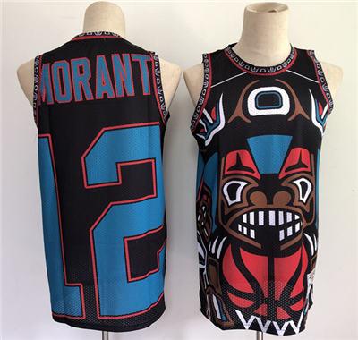Men's Memphis Grizzlies #12 Ja Morant 2021 Black Big Face Stitched Basketball Jersey